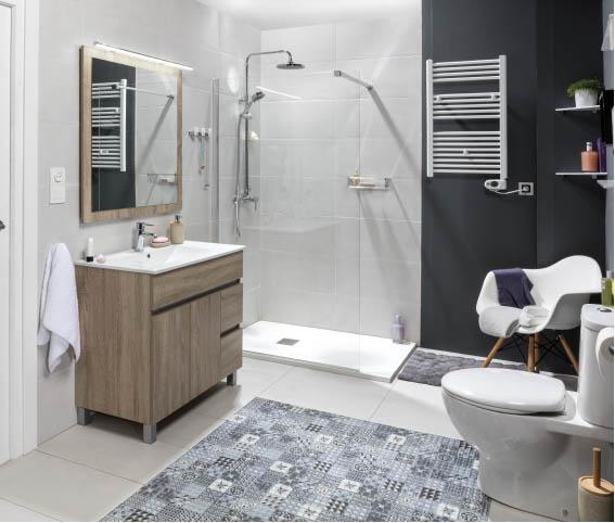 Baño pequeño completo donde se ve un radiador toallero y una ducha acristalada.