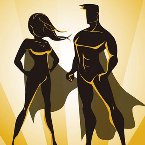 Perfil de un hombre y una mujer como super héroes.