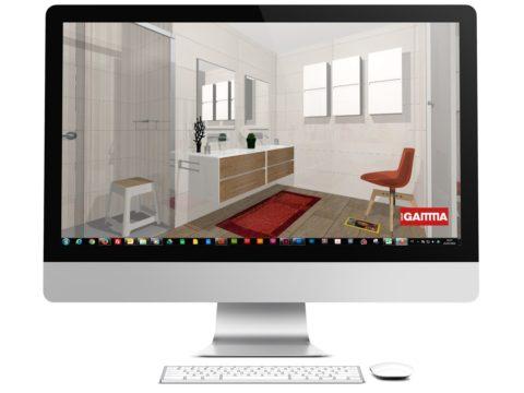 Pantalla de ordenador con diseño 3D de un baño.