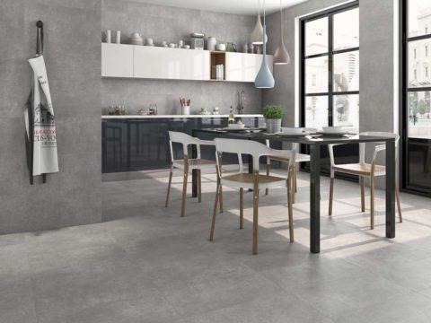 Cocina en tonos grises con cerámica Terradecor Concept.