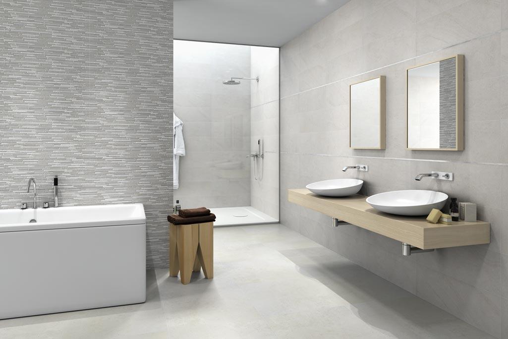 Baños Minimalistas Rusticos:Cerámicas Terradecor HAUT-gris-en-baño Con dos lavabos, bañera y
