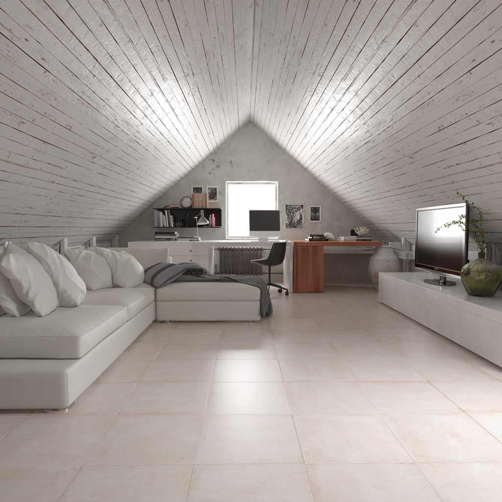Cerámica Terradecor TEIDE blanca en habitación abuhardillada.