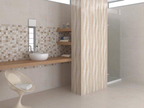 Cerámicas Terradecor TURIN en colores -tostados-baño con ducha.