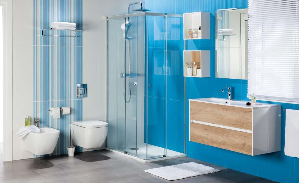 Mueble Baño Sobre Inodoro:Inodoro y bidé DECO suspendidos en baño con baldosas azules y mueble