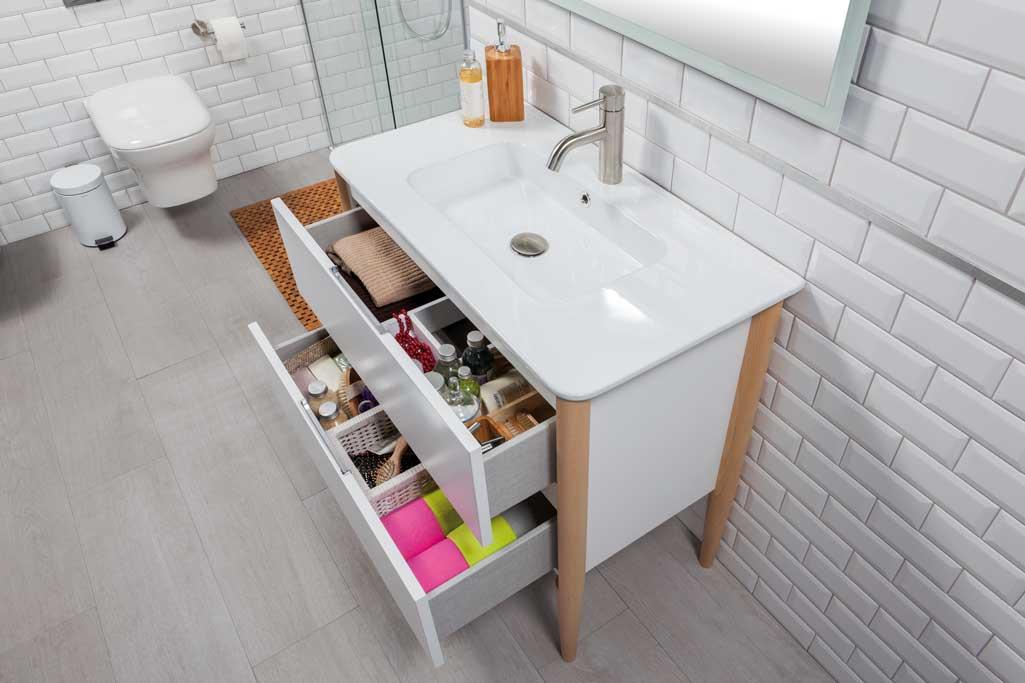 Mueble de baño NAYA de Tattom en color blanco con los cajones