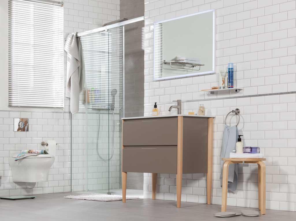 Mueble de baño NAYA de Tattom de Grup Gamma en tono topo en un baño