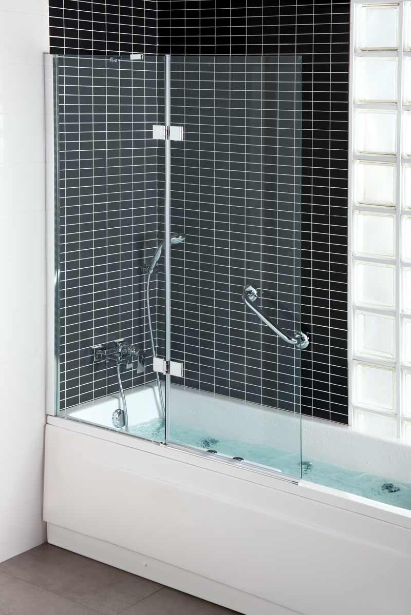 Escoger mampara INA de Daverton de Grup Gamma en una bañera. Es una hoja fija y la bañera está llena.