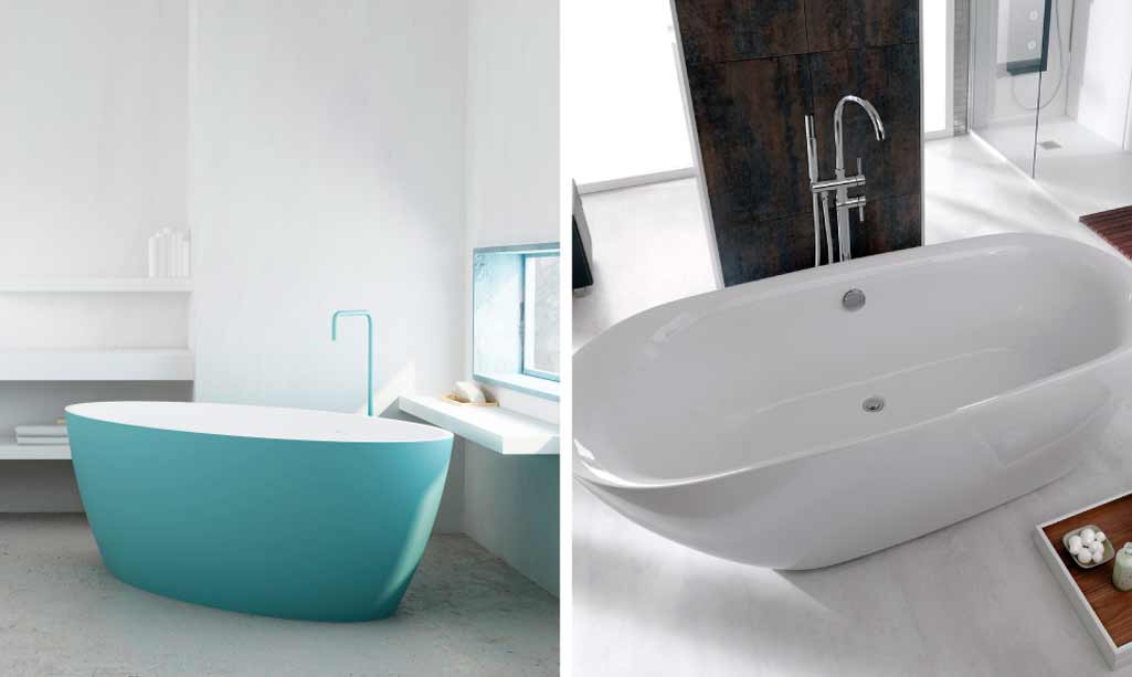 Bañeras exentas donde aparece una bañera en tono azul cielo y una bañera blanca.