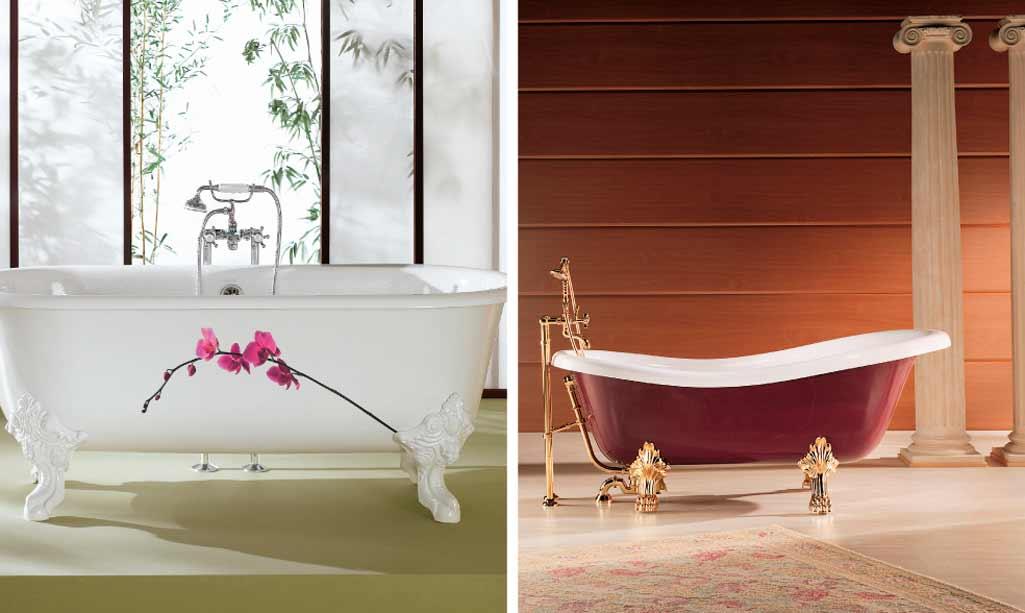 Bañera exenta donde aparece una bañera totalmente clásica con patas forjadas y una bañera más moderna con patas también elaboradas.