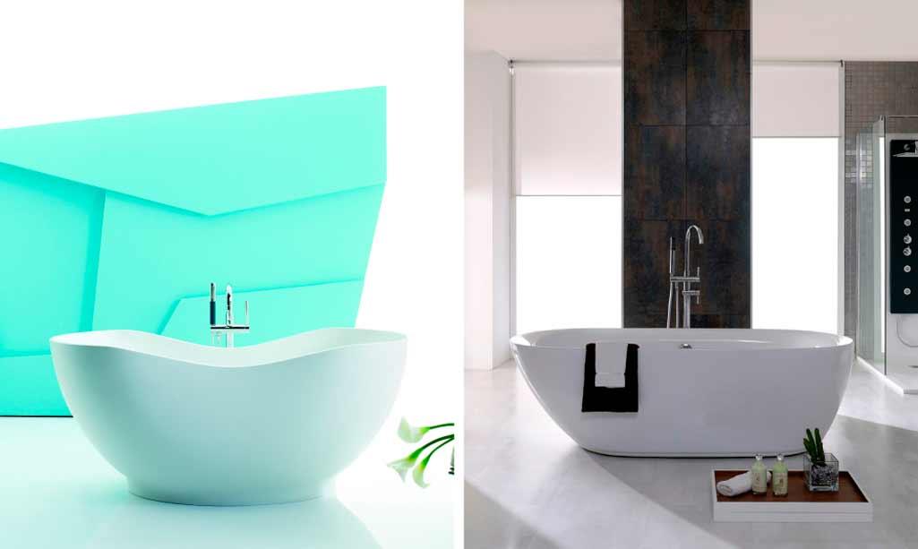 Bañeras exentas donde aparece una bañera ovalada en un cuarto de baño con tonos azulados y una bañera también ovalada en un cuarto de baño más clásico.
