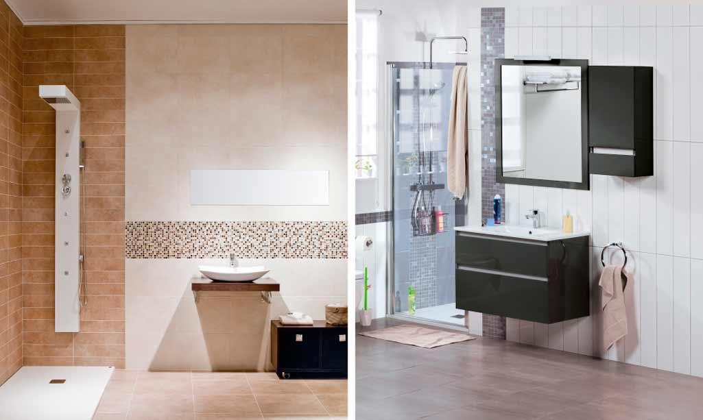 Baños pequeños donde aparece un baño con paredes en tonos tostados y un baño con las paredes en color blanco.