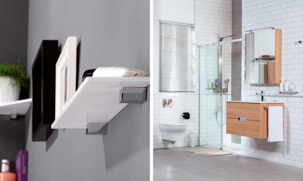 Baños pequeños donde aparece una foto de detalle de las estanterías y una foto de sanitarios suspendidos.