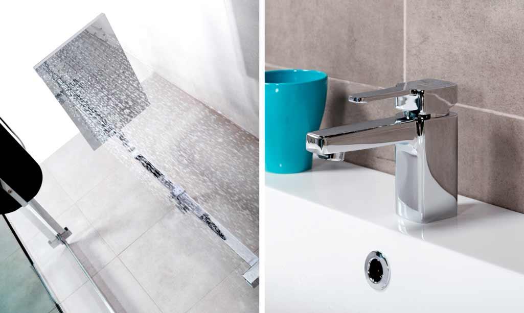 Formas rectas baño donde aparecen el rodicador de ducha EMO y el grifo de lavabo ZACK de Aua de Grup Gamma.