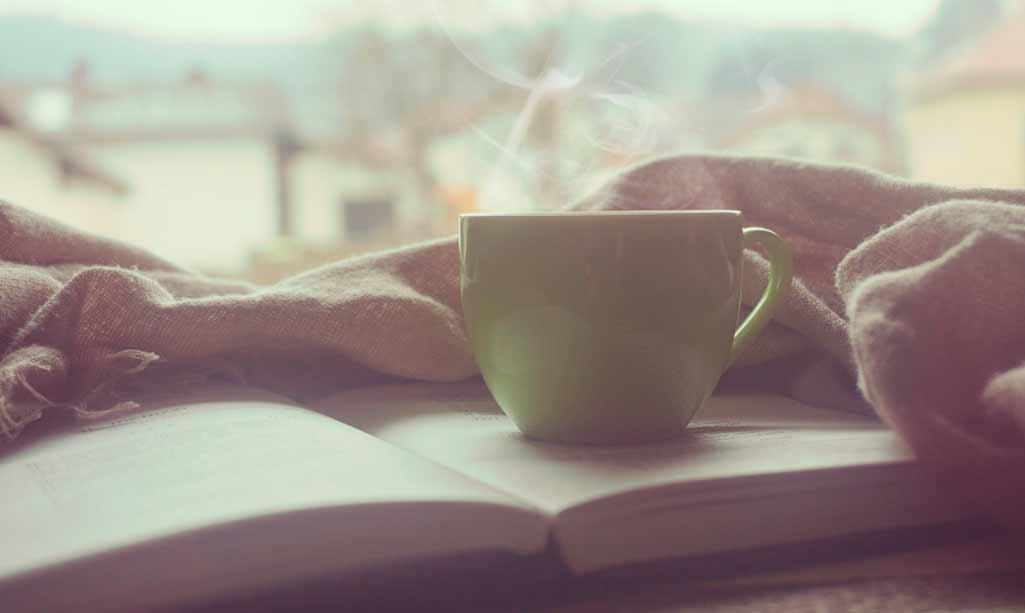 Chimeneas y estufas con una taza humeando encima de un libro. Es una imagen invernal.