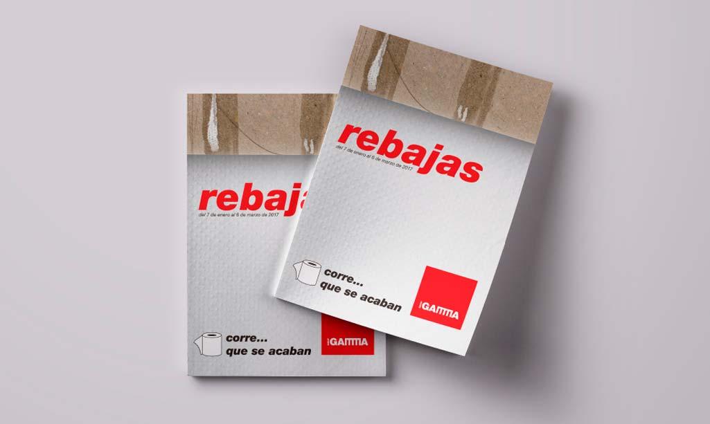 Rebajas folletos donde aparecen dos folletos de Rebajas de Grup Gamma.