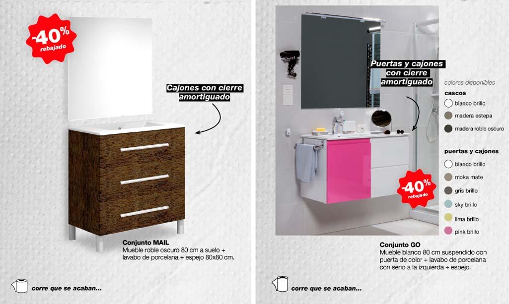 Rebajas Grup Gamma donde aparecen las ofertas de los dos conjuntos de mueble de baño.