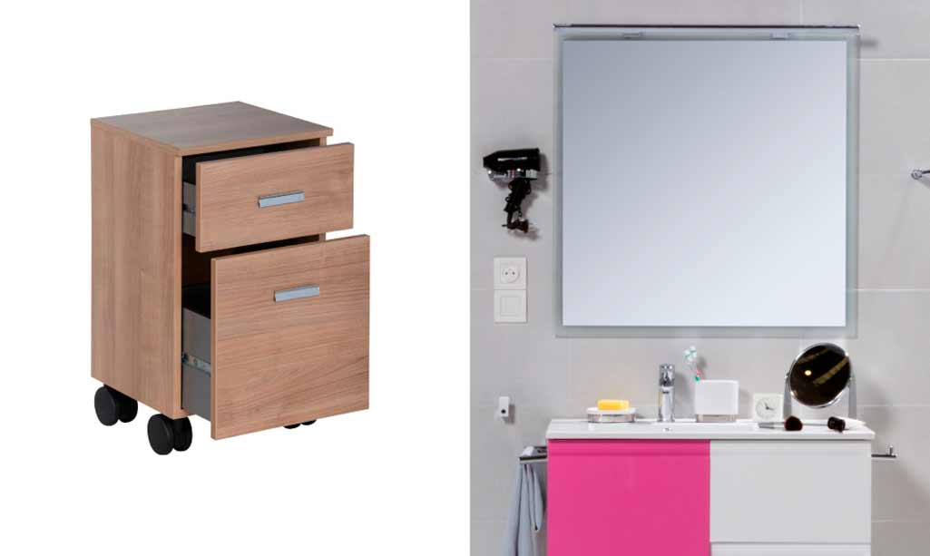 Regalo baño de un book con ruedas en color madera y un porta secador en un baño con el mueble Go en tono fucsia.