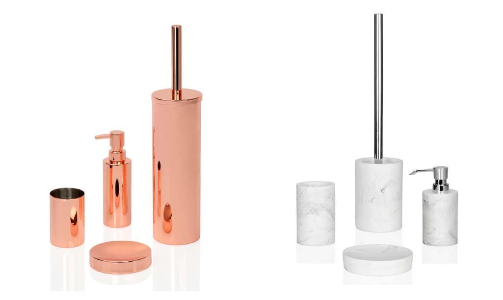 Regalo baño con dos sets de accesorios. Un set en cobre y el otro set en imitación de mármol blanco.