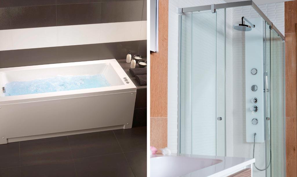 Baño bienestar done aparecen dos fotos. Una de una bañera de hidromasaje y la otra de una columna de hidromasaje.
