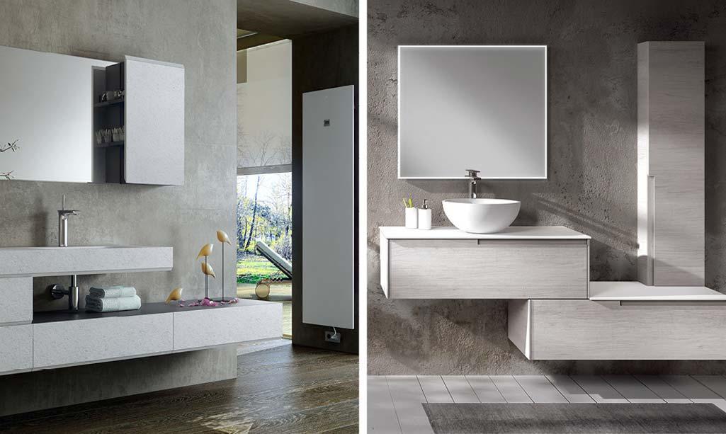 Baño de revista con dos baños completos en tontalidades grises y muebles modulares.