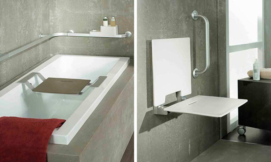 Baño gente mayor con un banqueta para bañera y un asiento para la ducha.