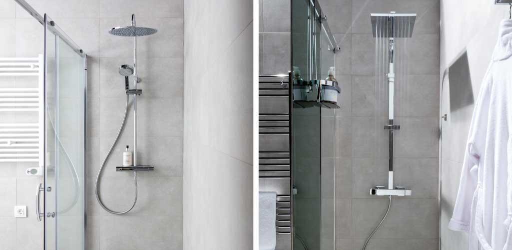Baños tecnológicos con detalle de dos conjuntos de ducha de la marca Aua: el conjunto Emo y el conjunto Senna.