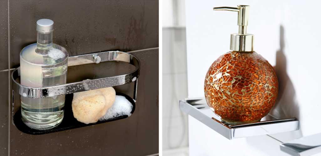Decorar cuarto de baño con una doble foto. En una aparece un contenedor de ducha y en la otra una estantería.