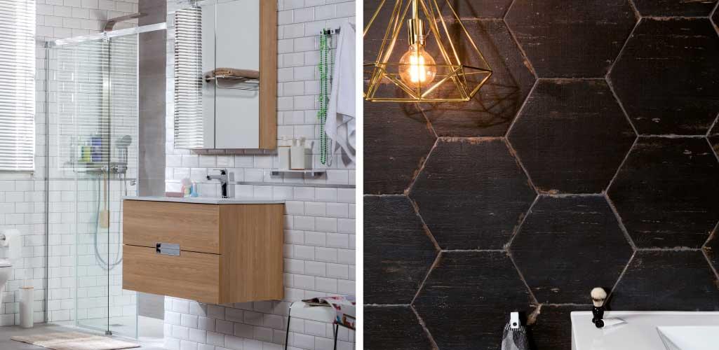 Tendencias cuarto de baño con una foto de pared con wall brick blanco y una pared con cerámica hexagonal en negro y formato grande.