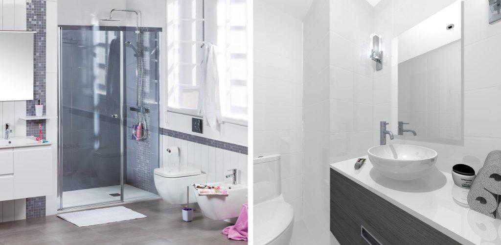 El color gris en el cuarto de ba o gamma azara for Color gris verdoso paredes