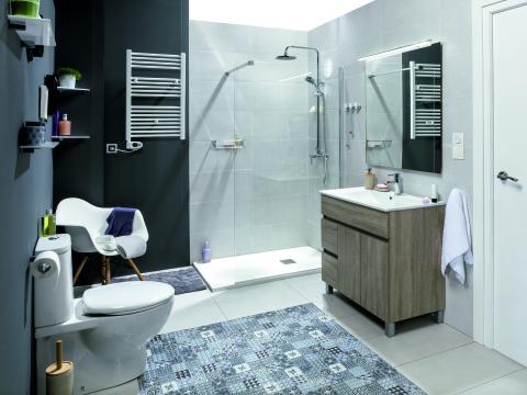 pared baño gris Archives - Blog en tendencias en cuartos de baños ...