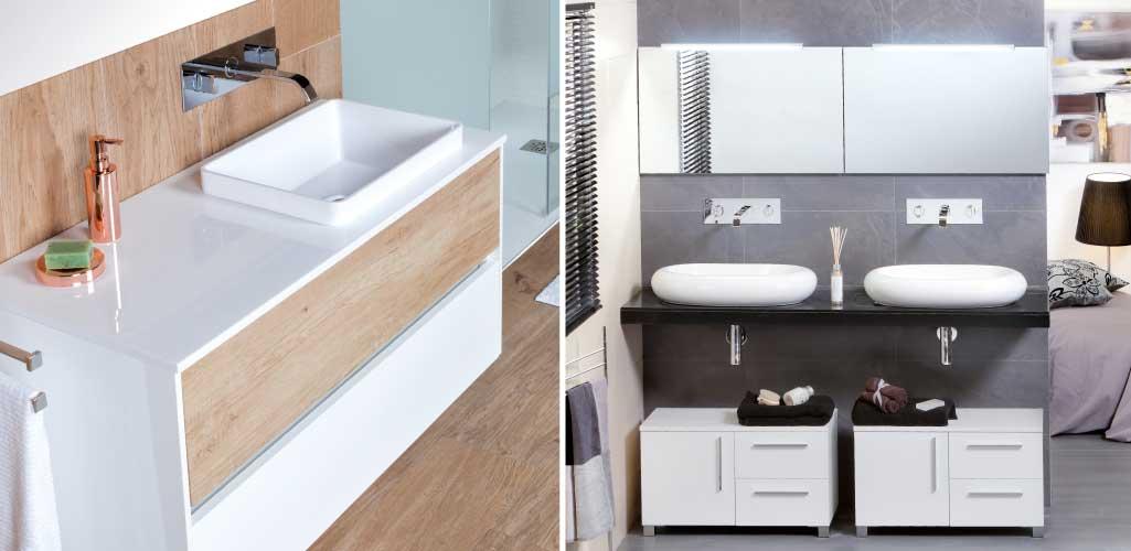Escoger lavabo donde aparecen dos lavabos sobre encimera. Uno en forma cuadrada y dos en forma ovalada.