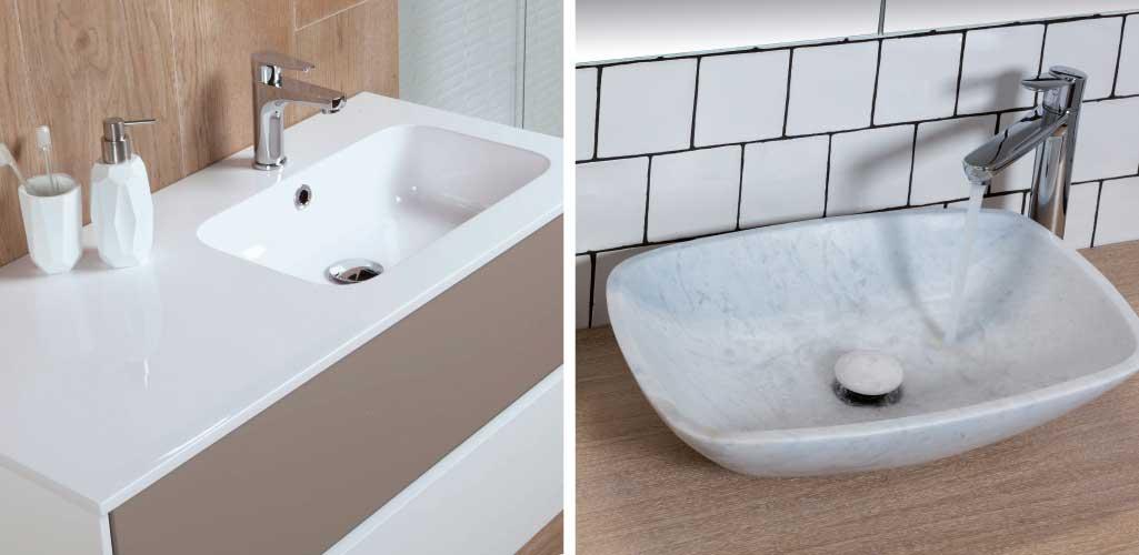 Escoger lavabo donde aparecen dos lavabos. Uno de porcelana blanca y uno en mármol blanco.