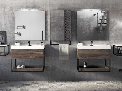 baño estilo industrial, baño industrial