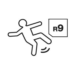 Cerámica antisplip EU: indica el grado de antideslizamiento de un pavimento según la normativa alemana (DIN 51130). La  norma se basa en un test en un plano inclinado a diferentes grados  donde este plano tiene aceite.  La clasificación puede ser des de R9 hasta R13, siendo este último el máximo nivel de inclinación y, por lo tanto, máximo nivel antideslizante.