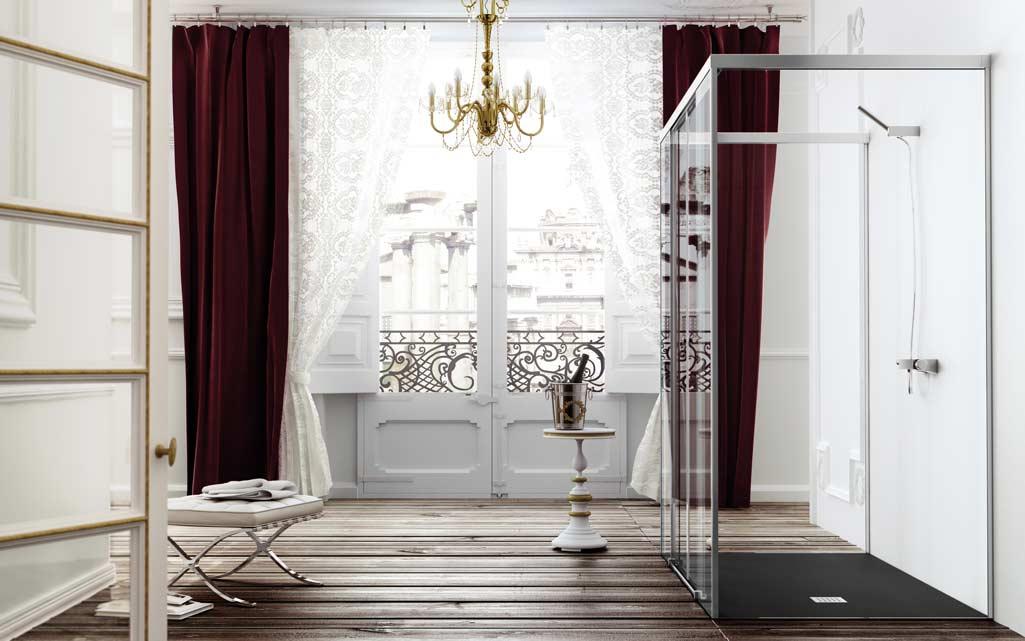 Plato de ducha estilo rústico en un baño que también es de estilo rústico.