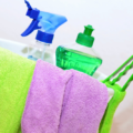 Productos de limpieza para la mampara y el resto del baño.
