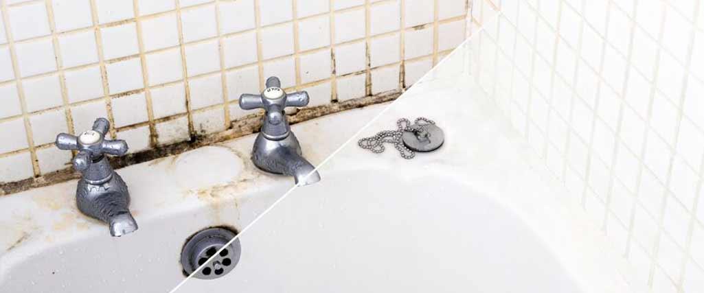 Filtraciones de agua en el baño donde se aprecia antes y después.