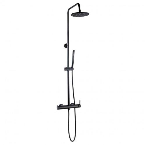 Conjunto RONDO MATE de ducha negro termostático 119 cm
