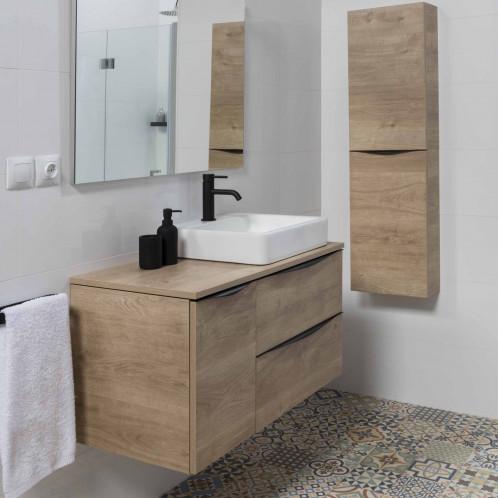 Conjunto de baño suspendido con lavabo y espejo Baho LUCCA roble 90 cm