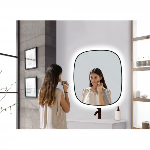 Espejo de baño LED integrado Baho HALO negro 70x80 cm