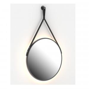 Espejo CUIR negro redondo 60 cm