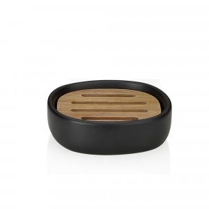 Jabonera cerámica negra y acacia