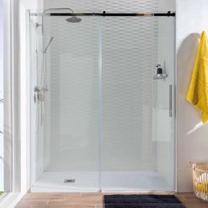 Mampara STEEL de ducha transparente frontal 148-150 cm