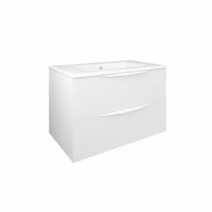 Mueble de baño suspendido Baho LUCCA blanco mate 80 cm con 2 cajones