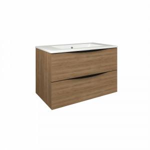 Mueble de baño suspendido Baho LUCCA roble natural 80 cm con 2 cajones