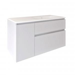 Mueble MANNING suspendido asimétrico blanco brillo 100 cm