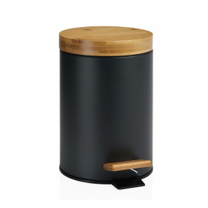 Papelera de baño negra de bambú 3L