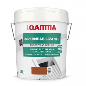 Bote Gamma pintura impermeab. antigoteras rojo teja 15l