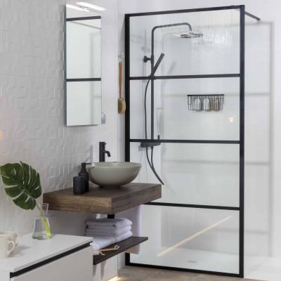 Mampara de ducha Baho SOHO líneas negras frontal 100 cm