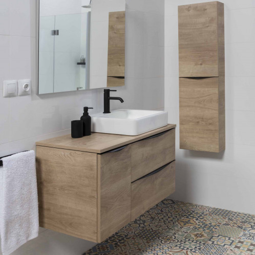 Conjunt de bany suspès amb lavabo i mirall Baho LUCCA roure 90 cm